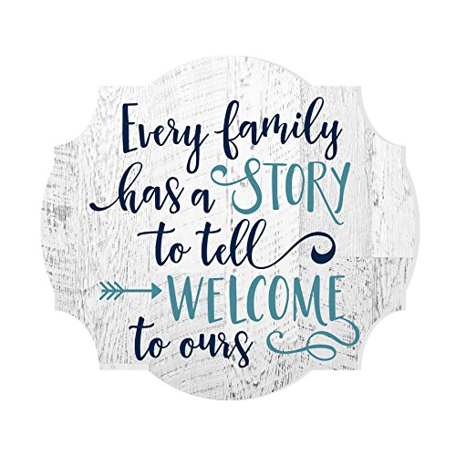 MRC Wood Products Every Family Has A Story to Tell Welcome to Ours Distressed Sign 12x13 ()