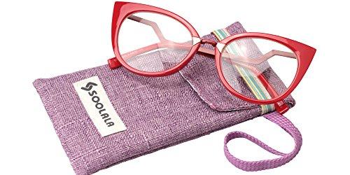 SOOLALA Womens 53mm Lens Vintage Unique Ladder Arm Cat Eye Reading Glass, Red, - Cat Prescription Glasses Shaped Eye