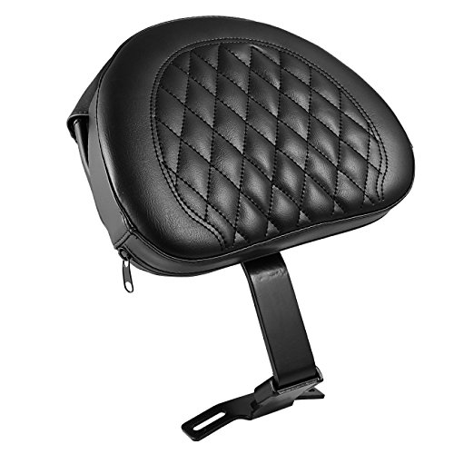 INNOGLOW Motorcycle Adjustable Plug-In Driver Rider Backrest Pad Black PU W/Pocket for Harley Fatboy Heritage Softail 2007-2017 by INNOGLOW