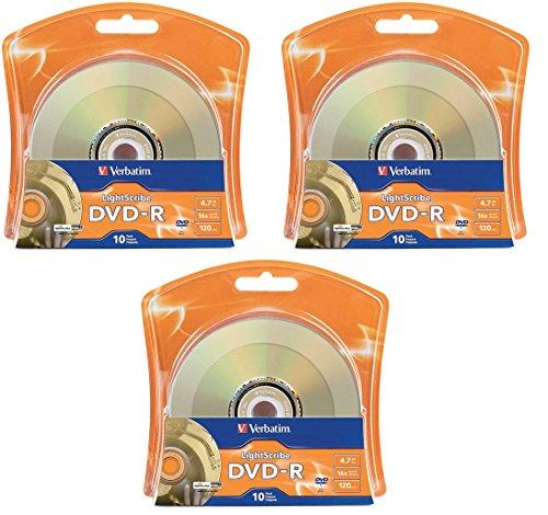 Verbatim 16x DVD-R LightScribe Blank Media, 4.7GB/120min - 30 Pack (3 x 10 Packs)