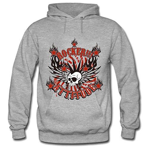 GENPO Rock Attitude Mens Heavyweight Fleece Hoodie Size XXL Gray (Attitude Fleece Hoodie)