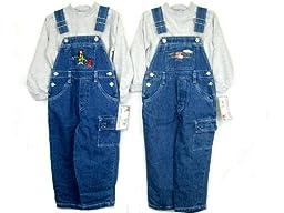 Toddler Boys Size 3T Cotton Denim Embroidered Bib Pocket Overall 2-PC Sets. 2 Sets Packs