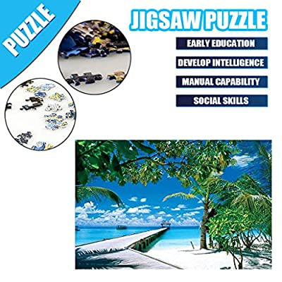 QIQIU Beach Seaside Coconut Tree Puzzle 1000 Pieces Jigsaw Puzzle: Toys & Games