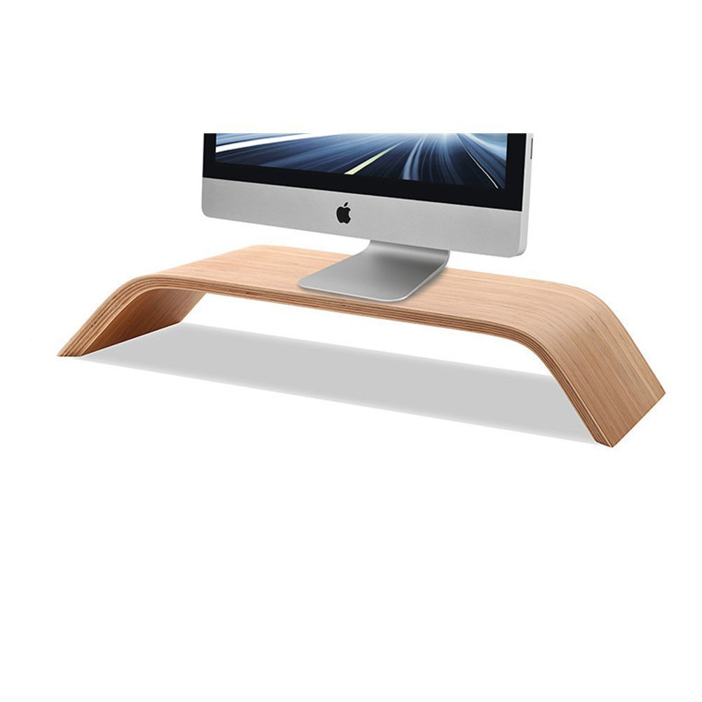 Ofkp Wooden Monitor Stand Riser Stand Shelf Stand For All Imac  # Table Pour Tv Lcd En Bois