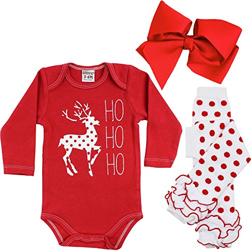 [juDanzy Halloween & Christmas Baby Gift Box outfit set (9-12 Months, Ho Ho Ho)] (Halloween Outfits For Little Girls)