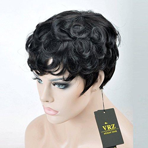 VRZ Short Black Wavy Human Hair Wigs Color 1B(8815B) by VRZ (Image #3)
