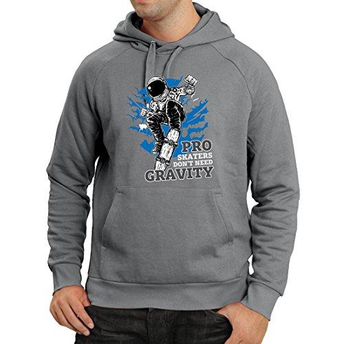 Hoodie Pro Skaters Don't Need Gravity - Skateboard Sayings, Skate Life Quotes (Small Graphite Multi - Skate Exerciser