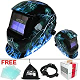 Leopard {Lightening} Solar & Battery Powered Auto Darking + Grinding Function + Replaceable Battery Welding Helmet Mask Safety Gea