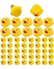 SAVITA 60 stks Rubber Ducky Bad Speelgoed voor Kinderen, Float en Piepen Mini Kleine Gele Eenden Badkuip Speelgoed voor Douche/Verjaardag/Feestbenodigdheden