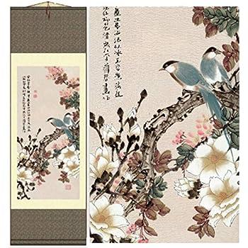 Grace Art Asian Wall Scroll, Birds In Spring