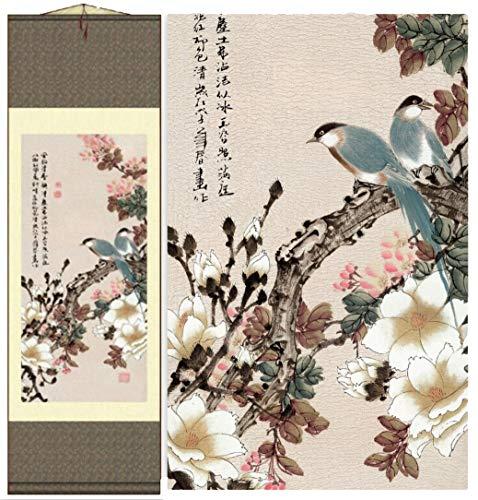 - Grace Art Asian Wall Scroll, Birds In Spring