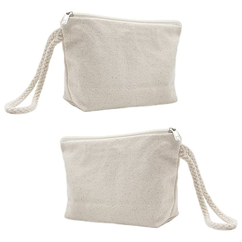 Aspire 1 Dozen DIY Natural 100% Cotton Canvas Wristlet Pouches, Cosmetics Bag with Bottom