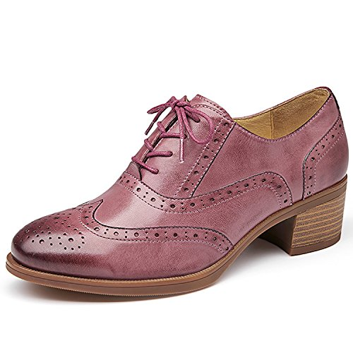 Odema Femmes En Cuir Oxfords Perforé À Lacets Bout De Laile Bas Talon Sculpture Robe Brogue Chaussures Oxfords Rose