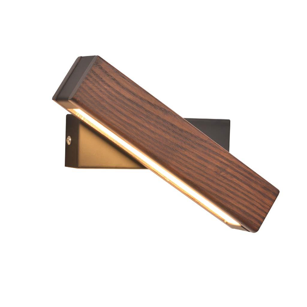 MLX Wandlampe, Nordische Wandleuchte Schlafzimmer Nachttischlampe Massivholz Gang Einfache Moderne Kreative Drehbare Dimmen LED Leselampe (Farbe   Walnut Farbe-Groß)