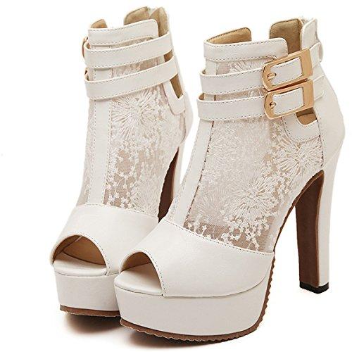 YE Damen Peep Toe High Heel Blockabsatz Plateau Leder Spitze Sommer Sandalen Schuhe Offen Ankle Boots mit Schnalle Weiß