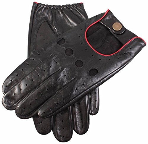 Dents Mens Silverstone Touchscreen Driving Gloves - Black/Berry - Large