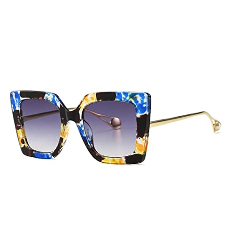 Yangjing-hl Gafas de Sol Florales Azules clásicas Mujer ...