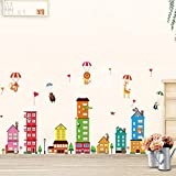 Wallpark Colorful City House Buildings Cute Bear Lion Giraffe Monkey Hot Air Balloon Removable Wall Sticker Decal, Children Kids Baby Home Room Nursery DIY Decorative Adhesive Art Wall Mural