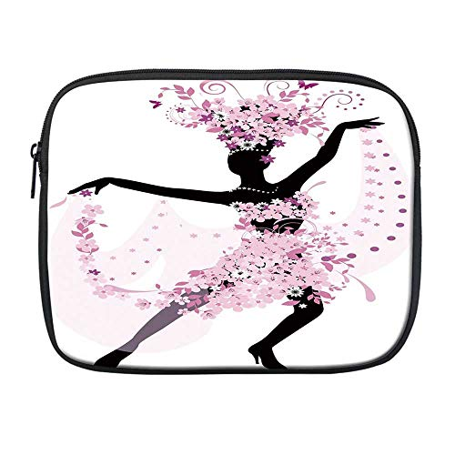 Latin Compatible with Nice iPad Bag,Silhouette of a Woman Dancing Samba Salsa Latin Dances Spain and Mexico Culture Print Decorative for Office,One Size