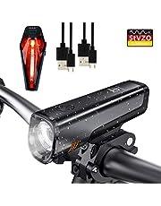 Degbit LED Fahrradlicht Set, StVZO Zugelassen USB Wiederaufladbare LED Fahrradbeleuchtung Set, Fahrradlampe Set inkl, LED Frontlichter und Rücklicht, 2600mAh Akku USB Aufladbare Fahrradlichter
