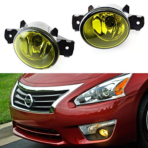 iJDMTOY Pair of Selective Yellow Lens Halogen Fog Lamps For Nissan & Infiniti, Driver Passenger Side Assembly w/ (2) 55W H11 Halogen Bulbs