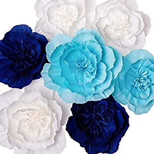 Paper Flower Decorations, Giant Paper Flowers (Navy Blue, Light Blue, White, Set of 7), Large Paper Flowers, Crepe Paper Flowers for Wedding, Nursery Wall Decoration, Baby Shower, Bridal Shower 1