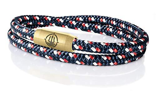 "Seemannsgarn /_ Maritimes Segeltau Armband /""Mainau/"" Blumen gelb-rot 4mm"