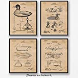 Original Duck Hunting Decoy Patent Art Poster Prints - Set of 4 (Four Photos) 8x10 Unframed - Great Wall Art Decor Gifts Under $20 for Home, Office, Garage, Man Cave, Hunter, Student, Game Instructor