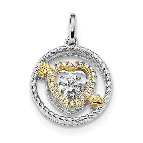 - Jewels By Lux 925 Sterling Silver Platinum-Plate and Gold-Tone Vibrant Swarovski Zircon Pendant