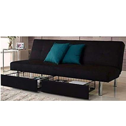 Amazon.com: Microfiber Fold Down Futon Sofa Bed with Storage ...