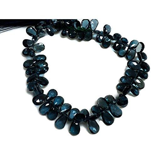 (8 Inch Half Strand - 58 Pcs - 6x9mm Each - London Blue Topaz Pear Briolette, Faceted Briolette Beads)