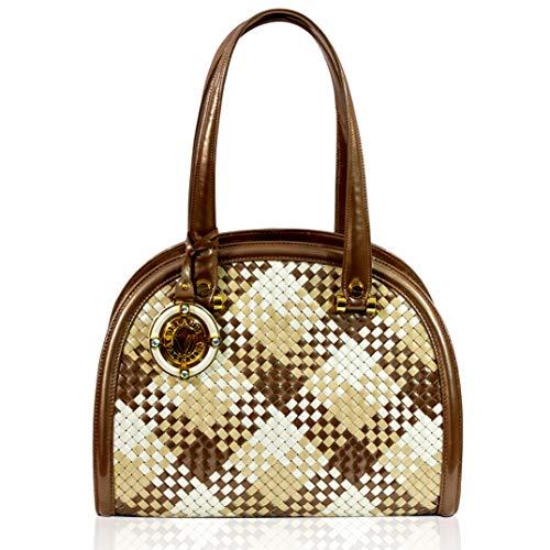 Valentino Orlandi Italian Designer Bronze Intrecciato Leather Purse Bowling Bag