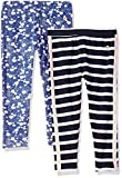 Limited Too Toddler Girls' 2 Pack Jesey Spandex Legging, Optic White Peacoat Multi Print, 3T