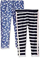 Limited Too Girls' Toddler 2 Pack Jesey Spandex Legging, Optic White Peacoat Multi Print, 4T