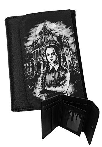 Gothic Herren Portemonnaie Geldbörse schwarz Wednesday Addams Kunstleder Darkside
