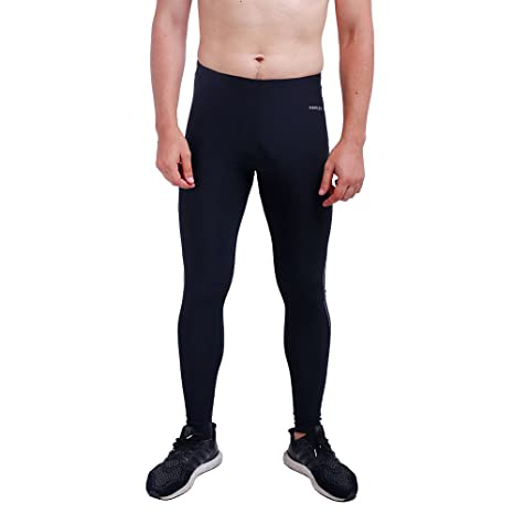 limited guantity super cheap get online H.MILES Mens Running Tights Gym Leggings Base Layers Thermal Black
