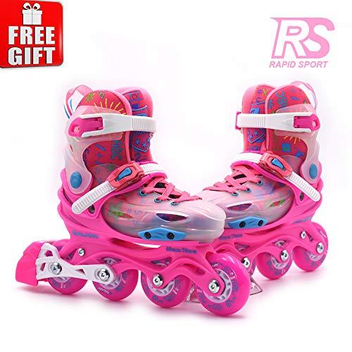 Rapid Sport Pink Transparent Girls Adjustable Inline Skates, Fun Rollerblades for Kids, Beginner Roller Skates for Girls, Men and Ladies. RS-02 (S)