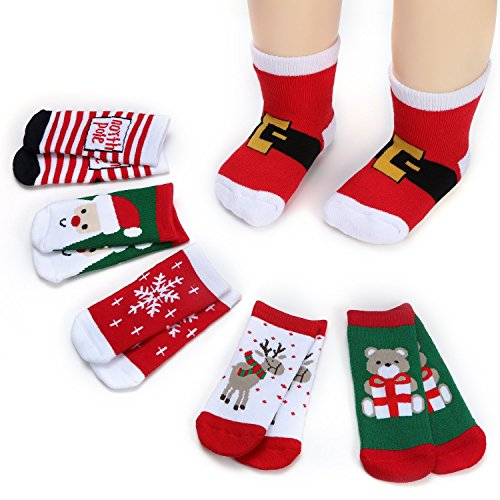 Lamamamas Kids Christmas Socks Boys Girls Toddlers Baby Gift Holiday Cotton Winter Warm Thick Crew Socks (6 Pairs)
