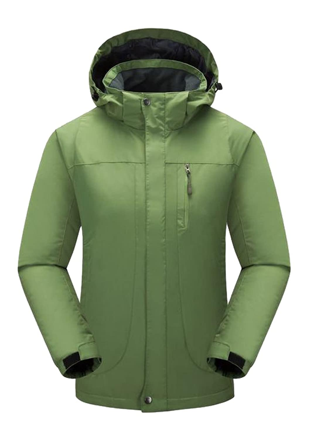 Abetteric Women's Windproof Hooded Outdoor Ski Jacket Mountain Jacket Army Green 2XL