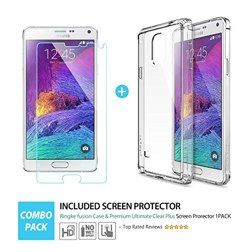 Jpm Samsung Note 4 Clear Case Screen Protector 2 In 1 Combination Pack  Black