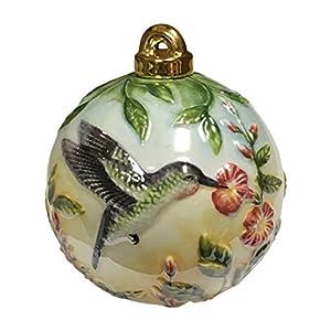 Value Arts Hummingbird Vaco Porcelain Christmas Ornament, 3.5 Inches Diameter 21