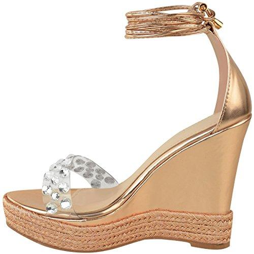 à Strass Thirsty Femme Compensées Bride Sandales L'Été Cheville Rose métallisé Fashion Lacet Pour doré A8Faqqwp