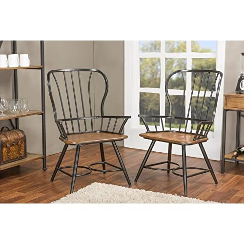 "Baxton Studio Longford ""Dark-Walnut"" Wood and Black Metal Vintage Industrial Dining Arm Chair (Set of 2)"