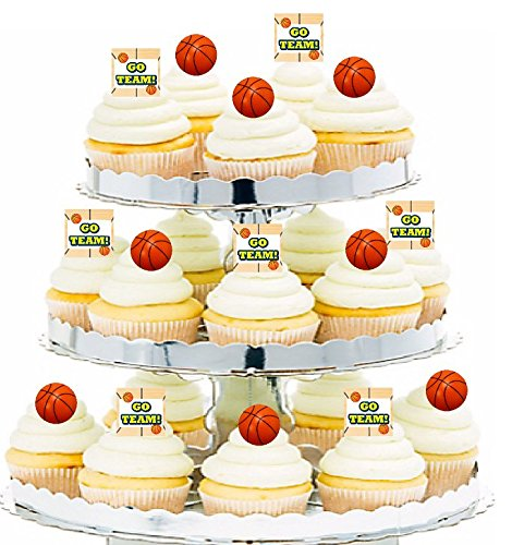 - CakeSupplyShop 24pk Birthday Party Food/Appetizer/Desert/Cupcake Decoration Toppers (12 Go Team Picks & 12 Basketball Rings)
