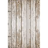 New Photography Floor Drop White Weathered Wood Background Mat CF9154 Rubber Backing, 4'x5' High Quality Printing, Roll up for Easy Storage Photo Prop Carpet Mat (Can Be Used for Decorating Home Also)