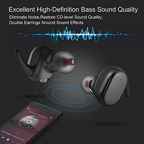 True Wireless Earbuds, Touch Controls Bluetooth Headphones V4.2 with Mini Stereo Headsets In Ear Sports Earphone Sweatproof Earpiece with Charging Case Noise Cancelling for iPhone Samsung