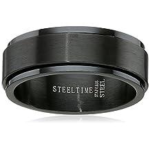 Men's Stainless Steel Black IP Spinner Ring, Size 9