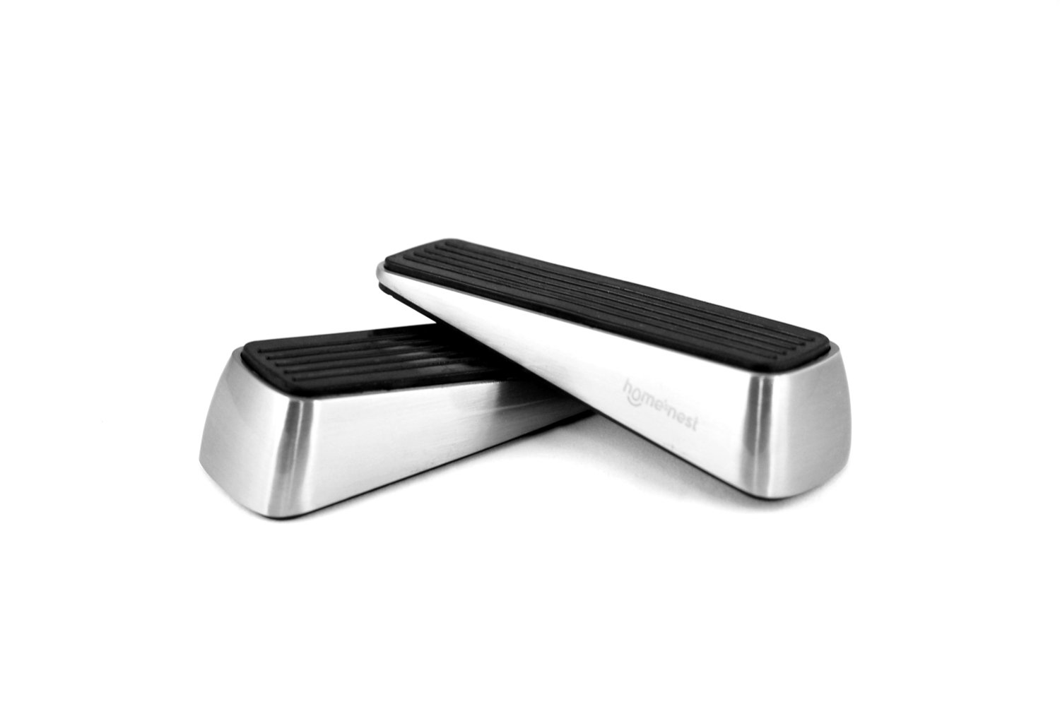 Homesnest Door Stopper made of Stainless Steel and Rubber, easily Wedge Heavy Doors on All Floor Surface, Strong Grip, Non-Slide bonus Finger Protector Doorstop - 2 stoppers