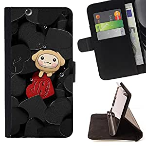 DEVIL CASE - FOR LG G2 D800 - Cute Hearts - Style PU Leather Case Wallet Flip Stand Flap Closure Cover