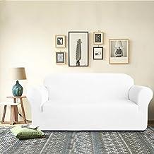 DyFun 1-Piece Knit Spandex Stretch Dining Room Sofa Slipcovers (Loveseat, White)